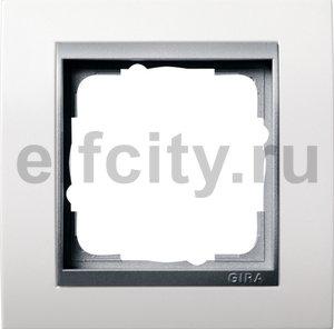 Рамка 1 пост, пластик матово-белый/алюминий
