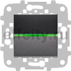 Выключатель с подсветкой одноклавишный, 10 А / 250 В, антрацит