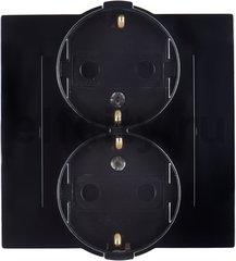 Розетка двойная с заземляющими контактами 16 А / 250 В, устанавливается в одну монтажную коробку, комплектуется рамкой, черный