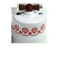 Клавиша Garby Modera (белый фарфор / коричневый декор, ручка старое дерево)