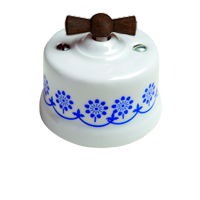 Клавиша Garby Modera (белый фарфор / синий декор, ручка старое дерево)