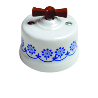 Клавиша Garby Modera (белый фарфор / синий декор, ручка мёд)