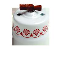 Клавиша Garby Modera (белый фарфор / коричневый декор, ручка мёд)