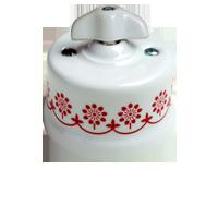 Клавиша Garby Retro (белый фарфор / коричневый декор, ручка ретро)
