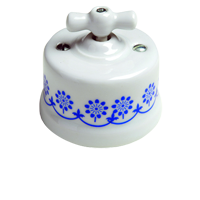 Клавиша Garby (белый фарфор / синий декор)