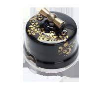 Клавиша Овал наружный монтаж (чёрный с золотым цветочным орнаментом)