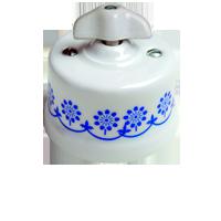 Клавиша Garby Retro (белый фарфор / синий декор, ручка ретро)
