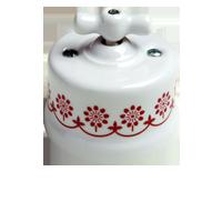 Клавиша Garby (белый фарфор / коричневый декор)