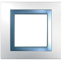 Рамка Unica (пластик белый/голубой лед)