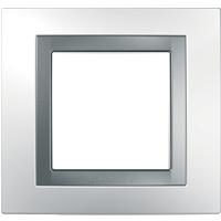 Рамка Unica (пластик белый/серебро)