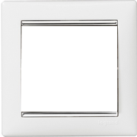Рамка Valena (пластик белый глянцевый/серебр.штрих)