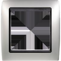 Рамка Simon 82 (алюминий матовый с черной вставкой)