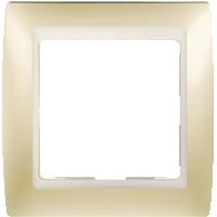 Рамка Simon 82 (шампань матовый с белой вставкой)