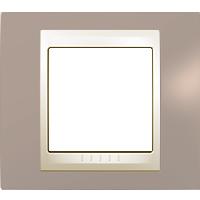 Рамка Unica Хамелеон (пластик коричневый/бежевый)