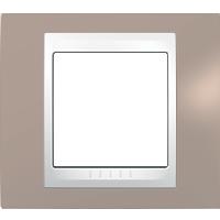 Рамка Unica Хамелеон (пластик коричневый/белый)